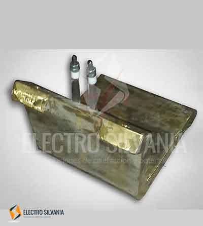 """Resistencias electrícas o elementos de calefacción fundidos en bronce en forma de """"L""""."""